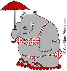 Hippo In A Polka-dot Bikini