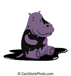 Hippo in oil stains, global environmental problem, ecological disaster vector Illustration on a white background