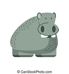 hippo jungle animal in cartoon abstract design