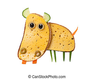 Hippo made of cheese and bread on white background
