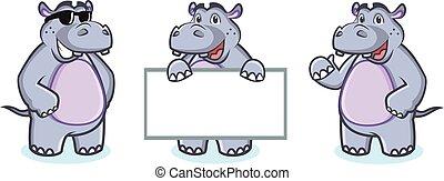 Hippo Mascot Vector happy