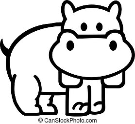 Hippo Outline comic