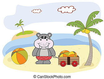 hippo play on the beach