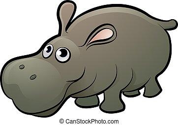 Hippo Safari Animals Cartoon Character