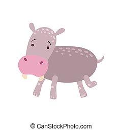 Hippo Stylized Childish Drawing