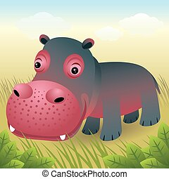 Hippo - Vector cartoon illustration of a smiling hippo ...