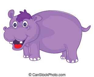 Hippo Vector Cartoon Illustration