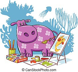 Hippo vector character illustration.