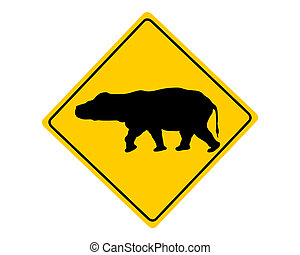 Hippo warning sign