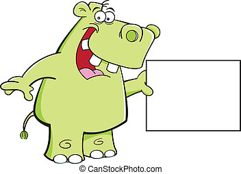 Hippo with a sign