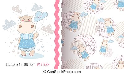 Hippo with cloud - seamless pattern