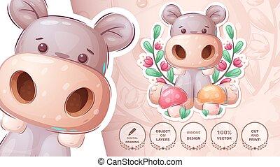Hippo with mushroom - cute sticker