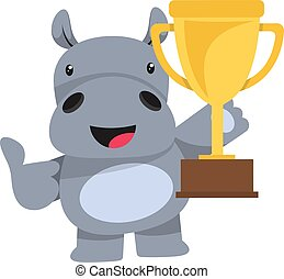 Hippo with trophy, illustration, vector on white background.