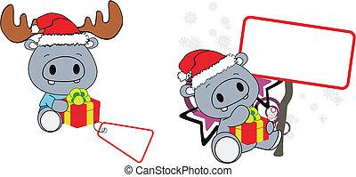 hippo xmas baby claus gift copyspace set in vector format...