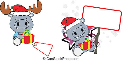hippo xmas baby claus gift copyspace set in vector format...
