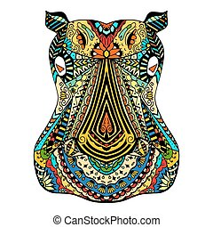 Hippo zentangle stylized - Colored Hippo zentangle head,...