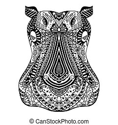 Hippo zentangle stylized - Monochrome Hippo zentangle head,...