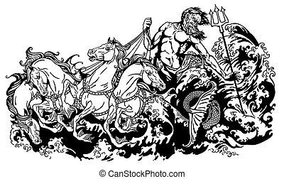 hippocamp, chariot, dirigindo, poseidon