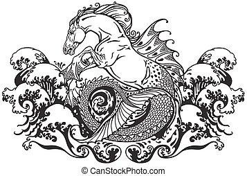hippocampus or kelpie mythological sea horse . Black and white illustration