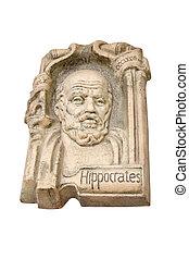 Hippocrates gypsum board isolated on white