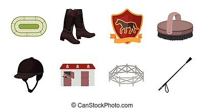 Hippodrome and horse icons in set collection for design. Horse Racing and Equipment vector symbol stock web illustration.