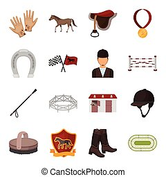 Hippodrome and horse set icons in cartoon style. Big collection of hippodrome and horse vector symbol stock illustration