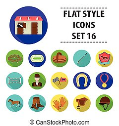 Hippodrome and horse set icons in flat style. Big collection of hippodrome and horse vector symbol stock illustration