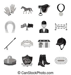 Hippodrome and horse set icons in monochrome style. Big collection of hippodrome and horse vector symbol stock illustration