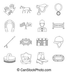 Hippodrome and horse set icons in outline style. Big collection of hippodrome and horse vector symbol stock illustration