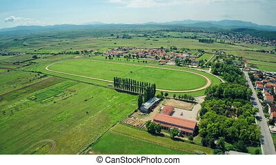Hippodrome Sinj with surronding, aerial shot - Copter aerial...
