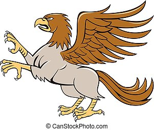 Hippogriff Prancing Side Isolated Cartoon - Illustration of...