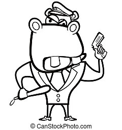 hippopotame, coloration, police, fusil, officier, dessin animé