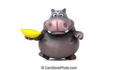 hippopotame, -, courant, animation, amusement, 3d