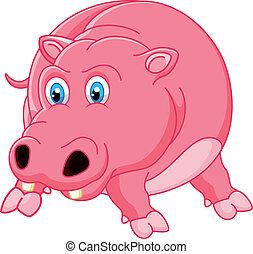 hippopotame, dessin animé, mignon