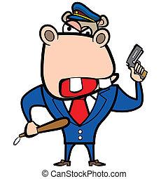 hippopotame, dessin animé, police, fusil, officier