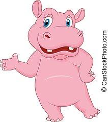 hippopotame, dessin animé, présentation