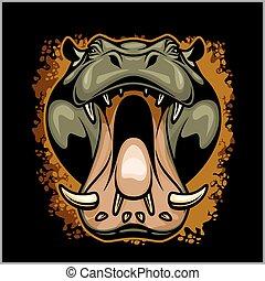 hippopotame, faire face, grunge, fond