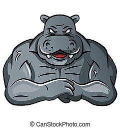 hippopotame, fort, mascotte