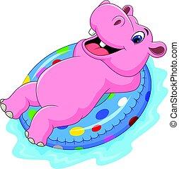 hippopotame, gonflable, dessin animé, anneau