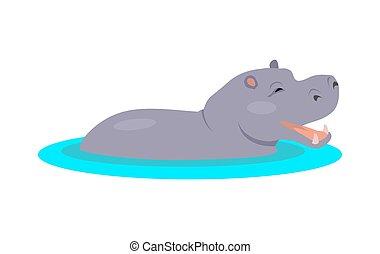 hippopotame, icône, conception, dessin animé, plat