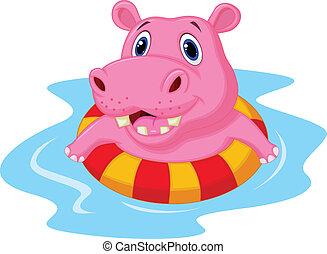 hippopotame, inflat, flotter, dessin animé
