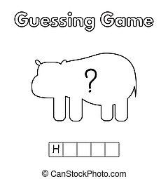 hippopotame, jeu, dessin animé, deviner