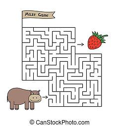 hippopotame, jeu, dessin animé, labyrinthe