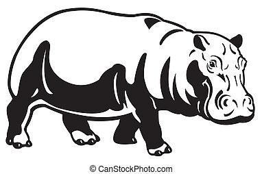 hippopotame, noir, blanc