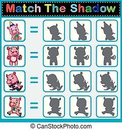 hippopotame, ombre, trouver, correct