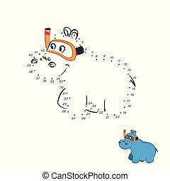 hippopotame, pédagogique, animaux, mignon, game., puzzle, caractère, isolé, zoo., nombre, point, dessin animé, style., kids.