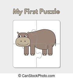 hippopotame, puzzle, dessin animé, gabarit, enfants