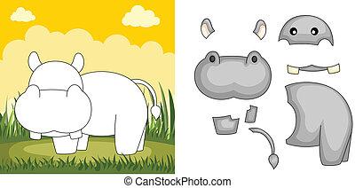 hippopotame, puzzle