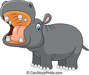 hippopotame, rugir, dessin animé