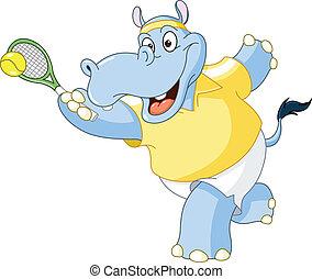 hippopotame, tennis